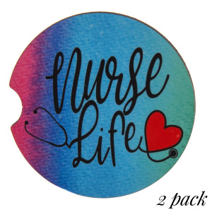 """Nurse Life"" printed car coaster set.  - Pack Breakdown: 2pcs / pack - Approximately 2"" in diameter - Finger slot for easy removal - Condensation absorbing cork"