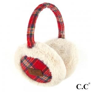 C.C EM-2339 Tartan Plaid Faux Fur Earrmuff  - 50% Polyester, 50% Acrylic - One size fits most