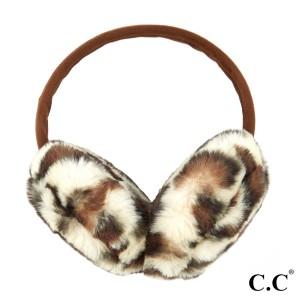 C.C EM-2364 Faux Fur Leopard Print Earmuffs  - One size fits most - 100% Polyester