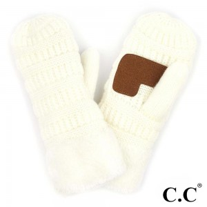 C.C MT-25 Ribbed Knit Fleece Cuff Mittens  - 100% Acrylic - One size fits most