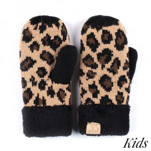 C.C MT-80-KIDS Leopard print knit mitten glove for kids  - 100% Acrylic - One size fits most - Matches C.C KIDS-80, HAT-80, SF-80, HW-80 and G-80