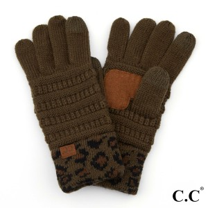 C.C G-80 Solid Ribbed Smart Touch Gloves Featuring Leopard Print Cuff.  - Touchscreen Compatible - 100% Acrylic - One size fits most - Matches C.C HAT-80, SF-80, HW-80, G-80, KIDS-80 and MT-80-KIDS
