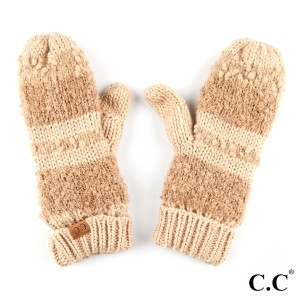 C.C MT-6245 Striped mitten glove with fuzzy lining  - 100% Acrylic - One size fits most