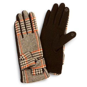 Glen Check Knotted Smart Touch Gloves.  - Touchscreen Compatible - One size fits most - 100% Polyester