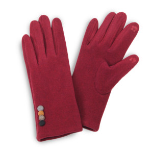 Faux Suede Smart Touch Gloves Featuring Multi Button Cuff Detail.  - Touchscreen Compatible - One size fits most - 100% Polyester