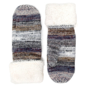 Multicolor Striped Sherpa Cuff Mittens.  - One size fits most - 65% Acrylic, 35% Wool