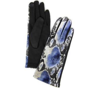 Snakeskin Smart Touch Gloves.  - One size fits most - 60% Polyester, 40% Cotton