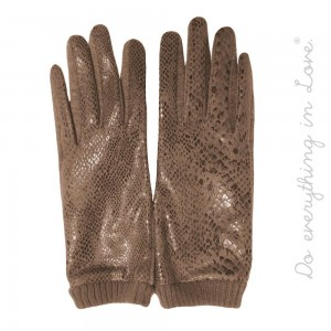 Do everything in Love Brand PU Snakeskin Smart Touch Gloves.  - Touchscreen Compatible - One size fits most  - 50% Cotton, 50% Polyester