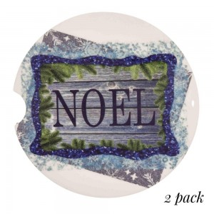 """Noel Christmas Print Car Coaster Set.  - 2 Coasters Per Pack - Approximately 2"""" in Diameter - Finger Slot for Easy Removal - Condensation Absorbing Cork"""