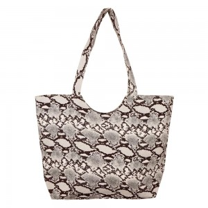 "Snakeskin Tote Bag.  - Zipper closure - Open Inside; 1 Pocket - Approximately 19.5"" W x 14"" T  - Strap 12"" Long - 100% Polyester"