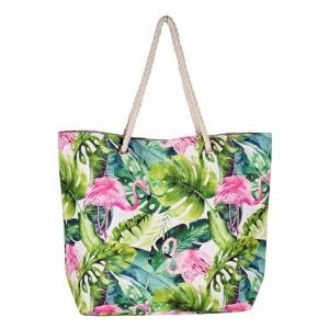 "Tropical flamingo canvas beach bag with rope strap details.  - Button closure - One inside open pocket - Approximately 20.5"" W x 16"" T  - Strap length 12"" - 60% Cotton, 40% Polyester"