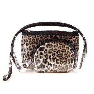 "Leopard print clear 3pc travel pouch set.  - 3 pieces  - Detachable wristlet approximately 6"" - Clear bag 8"" W x 7"" T - Middle size bag 7"" W x 5"" T - Smallest bag 5"" W x 4.5"" T - 100% PU"