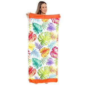 "Multicolor Palm Leaf Print Beach Towel Drawstring Bag All in One.  - Unfold your bag to use the soft beach towel - Conveniently folds back into a drawstring bag - Towel approximately 27"" W x 59"" L - 70% Cotton / 30% Polyester"