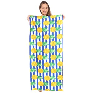 "Blue Stripe Pineapple Print Beach Towel Drawstring Bag All in One.  - Unfold your bag to use the soft beach towel - Conveniently folds back into a drawstring bag - Towel approximately 27"" W x 59"" L - 70% Cotton / 30% Polyester"
