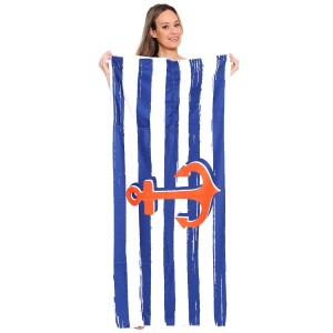 "Blue Stripe Anchor Print Beach Towel Drawstring Bag All in One.  - Unfold your bag to use the soft beach towel - Conveniently folds back into a drawstring bag - Towel approximately 27"" W x 59"" L - 70% Cotton / 30% Polyester"