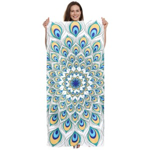 "Geometric Peacock Print Beach Towel Drawstring Bag All in One.  - Unfold your bag to use the soft beach towel - Conveniently folds back into a drawstring bag - Towel approximately 27"" W x 59"" L - 70% Cotton / 30% Polyester"