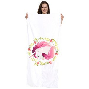 """Floral Unicorn Beach Towel Drawstring Bag All in One.  - Unfold your bag to use the soft beach towel - Conveniently folds back into a drawstring bag - Towel approximately 27"""" W x 59"""" L - 70% Cotton / 30% Polyester"""