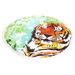 """Tiger Print Fringe Luxury Round Beach Towel.  - Approximately 59"""" in diameter - 70% Cotton / 30% Polyester"""