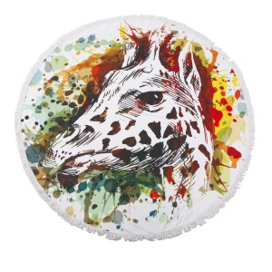 """Multicolor Giraffe Fringe Luxury Round Beach Towel.  - Approximately 59"""" in diameter - 70% Cotton / 30% Polyester"""