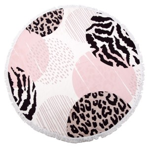"Animal Print Fringe Luxury Round Beach Towel.  - Approximately 59"" in diameter - 70% Cotton / 30% Polyester"