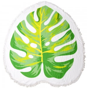 "Palm Leaf Fringe Luxury Round Beach Towel.  - Approximately 59"" in diameter - 70% Cotton / 30% Polyester"