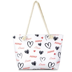 """XOXO Canvas Tote Bag.  - Open inside pocket - Zipper closure - Rope handles - Approximately 22"""" W x 14"""" T - Handles 12"""" L - 65% Polyester, 35% Cotton"""