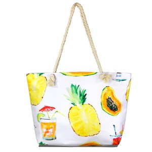 "Summer Time Tote Bag.  - Open inside pocket  - Zipper closure - Rope handles - Approximately 22"" W x 14"" T - Handles 12"" L - 65% Polyester, 35% Cotton"