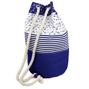 "Anchor stripe backpack style canvas tote bag with rope drawstring.              - Open lined inside - No pockets - Rope Drawstring - Approximately 17"" W x 18"" T - 70% Polyester, 30% Cotton"