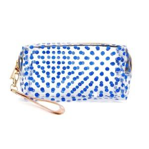 "Clear glitter polka dot travel pouch with wristlet.  - Detachable wristlet 6.5"" L - Approximately 10"" W x 4"" T - 100% PVC"
