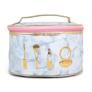"""Marble faux leather cosmetic travel bag.  - Open lined inside - No pockets - Approximately 8.5"""" W x 5.5"""" T - 100% PVC"""