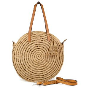 "Rounded Paper Straw Woven Beach Bag.  - Open lined inside - 1 open inside pocket - Zipper closure - Detachable adjustable faux leather handle - Approximately 15"" in diameter - 90% Paper, 10% PU"