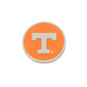 """Silver tone officially licensed University of Tennessee snap charm stamped """"T."""" Snap jewelry collection."""