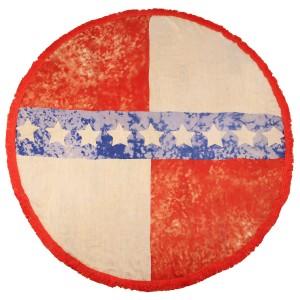 "Do everything in Love brand lightweight Americana tie-dye fringe round beach throw.  - Approximately 59"" in diameter - 100% Viscose  -"
