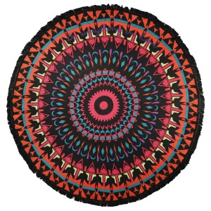 "Do everything in Love Brand Lightweight Black Multi Geometric Print Round Beach Throw.  - Approximately 59"" in diameter - 100% Viscose"