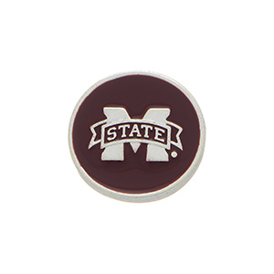 "Silver tone officially licensed Mississippi State snap charm stamped ""M State"" Snap jewelry collection."