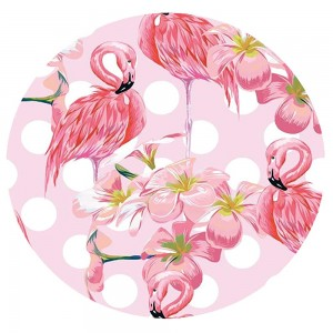 """Pink Flamingo Fringe Luxury Round Beach Towel.  - Approximately 59"""" in diameter - 70% Cotton / 30% Polyester"""
