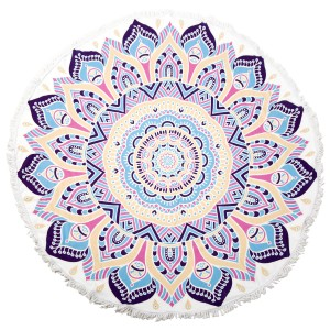 "Abstract Flower Fringe Luxury Round Beach Towel.  - Approximately 59"" in diameter - 70% Cotton / 30% Polyester"