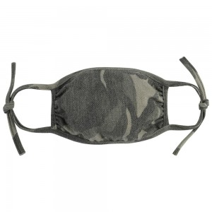 Adjustable Reusable Camouflage T-Shirt Cloth Face Mask that Ties.  - Machine Wash in Cold - Mild Detergent - Lay Flat to Dry - Do Not Bleach - Adjustable Reusable Face Mask - These Mask Have NO Filter - One Size Fits Most Adults - Exterior Material: 95% Polyester / 5% Spandex - Interior Material: Cotton Blend in Ivory or White  These Masks Are Not For Professional Use and Not Medically Rated. These Masks Have No Proven Effectiveness Against Any Viruses.