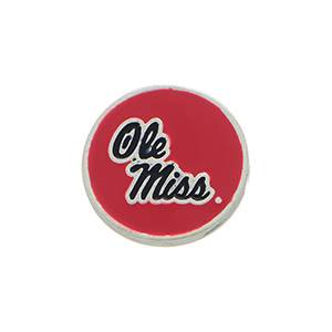 "Silver tone officially licensed collegiate snap charm stamped ""Ole Miss"". Snap jewelry collection."