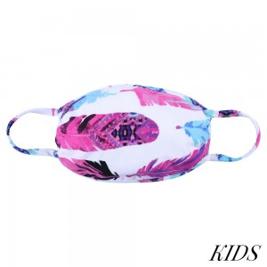 KIDS Reusable Fuchsia Feather Print Fashion Cloth Face Mask.  - Machine Wash in Cold  - Mild Detergent  - Lay Flat to Dry - Do Not Bleach - Reusable Face Mask - These Mask Have NO Filter  - One Size Fits Most KIDS (5-11 years) - Exterior Material: 95% Polyester / 5% Spandex - Interior Material: Cotton Blend in Ivory or White  These Masks Are Not For Professional Use and Not Medically Rated. These Masks Have No Proven Effectiveness Against Any Viruses.