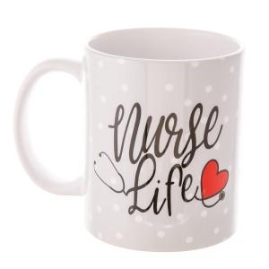 """Nurse Life"" Printed Ceramic Coffee Mug.  - Holds up to approximately 11 fl oz."
