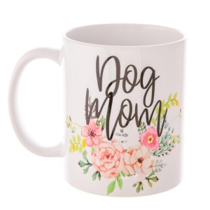 """Dog Mom"" Floral Printed Ceramic Coffee Mug.  - Holds up to approximately 11 fl oz."