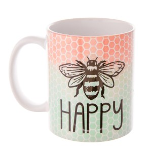 """Be Happy"" Ombre Honeycomb Printed Ceramic Coffee Mug.  - Holds up to approximately 11 fl oz."