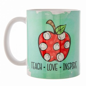 "Mint Green ""Teach, Love, Inspire"" Teacher Printed Ceramic Coffee Mug.  - Double Sided - Dishwasher Safe - Microwave Safe - Holds up to approximately 11 fl oz."