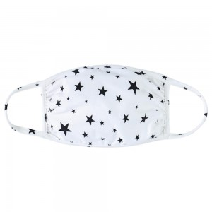 Reusable Star Print T-Shirt Cloth Face Mask.  - Machine Wash in Cold - Mild Detergent - Lay Flat to Dry - Do Not Bleach - Reusable Face Mask - These Mask have NO Filter - One Size Fits Most Adults - Exterior Material: 95% Polyester / 5% Spandex - Interior Material: Cotton Blend in Ivory or White  These Masks Are Not For Professional Use and Not Medically Rated. These Masks Have No Proven Effectiveness Against Any Viruses.