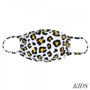 KIDS Reusable Leopard Print T-Shirt Cloth Face Mask.  - Machine Wash in Cold - Mild Detergent - Lay Flat to Dry - Do Not Bleach - Reusable Face Mask - These Mask have NO Filter - One Size Fits Most KIDS (AGES 5-11 years) - Exterior Material: 95% Polyester / 5% Spandex - Interior Material: Cotton Blend in Ivory or White  ** These Masks Are Not For Professional Use and Not Medically Rated. These Masks Have No Proven Effectiveness Against Any Viruses. *** ALL Sales Final Due to CDC Recommendations