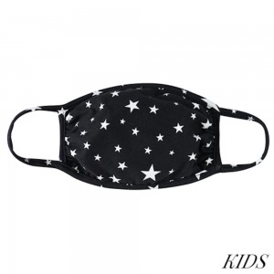 KIDS Reusable Star Print T-Shirt Cloth Face Mask.  - Machine Wash in Cold - Mild Detergent - Lay Flat to Dry - Do Not Bleach - Washable & Reusable Face Mask - These Mask have NO Filter - One Size Fits Most KIDS (Ages 5-11) - Exterior Material: 95% Polyester / 5% Spandex - Interior Material: Cotton Blend in Ivory or White  ** These Masks Are Not For Professional Use and Not Medically Rated. These Masks Have No Proven Effectiveness Against Any Viruses. *** ALL Sales Final Due to CDC Recommendations