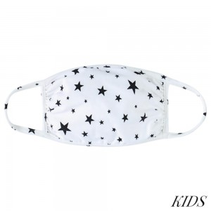 KIDS Reusable Star Print T-Shirt Cloth Face Mask.  - Machine Wash in Cold - Mild Detergent - Lay Flat to Dry - Do Not Bleach - Washable & Reusable Face Mask - These Mask have NO Filter - One Size Fits Most KIDS (Ages 5-11) - Exterior Material: 95% Polyester / 5% Spandex - Interior Material: Cotton Blend in Ivory or White  ** These Masks Are Not For Professional Use and Not Medically Rated. These Masks Have No Proven Effectiveness Against Any Viruses.