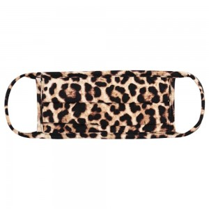 ADULTS Reusable Leopard Print T-Shirt Cloth Face Mask with Pleats.  - Machine Wash in Cold - Mild Detergent - Lay Flat to Dry - Do Not Bleach - Reusable Face Mask - These Mask have NO Filter - One Size Fits Most Adults - Exterior Material: 95% Polyester / 5% Spandex - Interior Material: Cotton Blend in Ivory or White  These Masks Are Not For Professional Use and Not Medically Rated. These Masks Have No Proven Effectiveness Against Any Viruses.