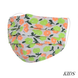 KIDS Non-Medical Neon Floral Pleat Washable & Reusable Fashion Face Mask.  - Wash Before Use - Reusable / Washable / Latex Free - Eco-Friendly - Protects from Dust / Fog / Spray / Pollen - One size fits most KIDS (AGES 5-11) - Cotton & Elastic   *** ALL Sales Final Due to CDC Recommendations